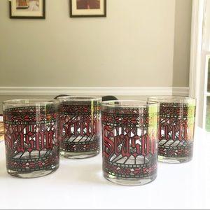 Vintage Set of 4 Christmas Seasons Greetings Cups